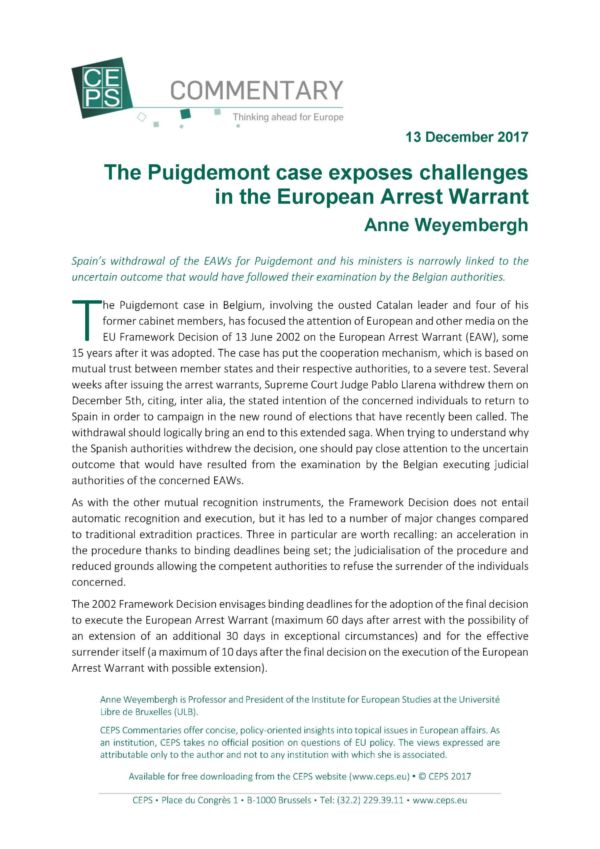 The Puigdemont Case Exposes Challenges In The European Arrest Warrant Ceps